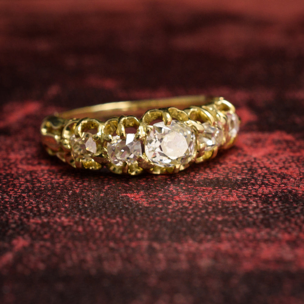 Victorian Old Mine Cut Diamond 5-Stone Ring