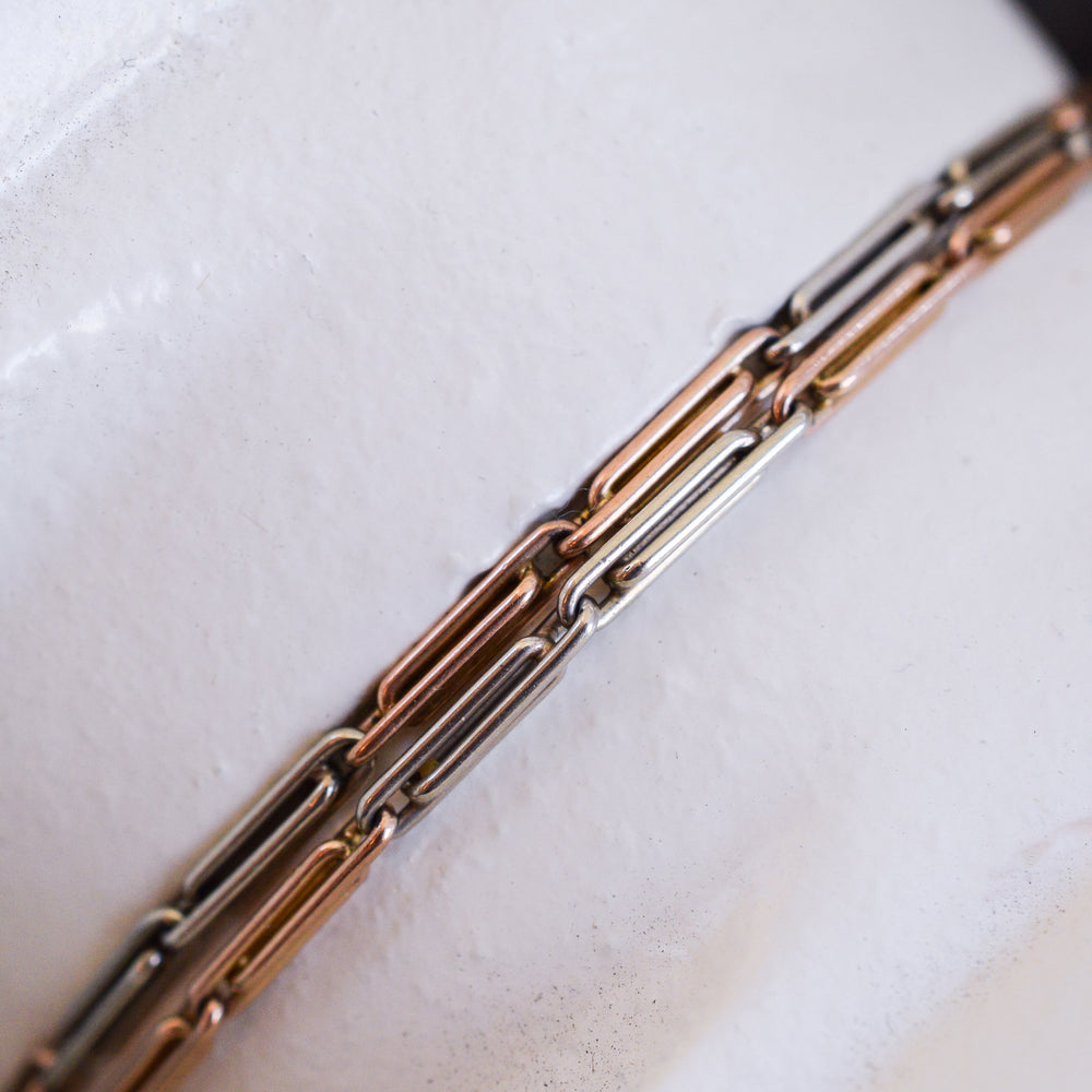 Edwardian Rose & White Gold Trombone Link Chain