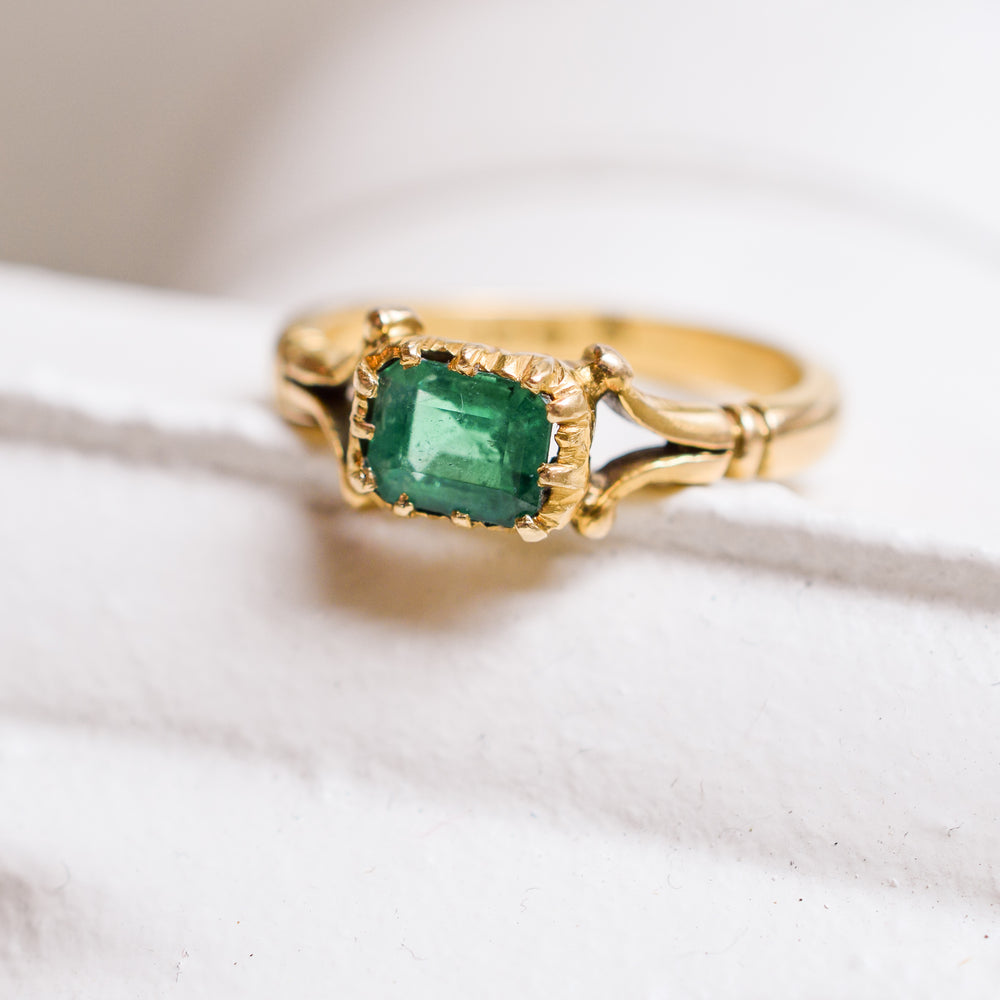 Early Victorian Emerald Solitaire Ring