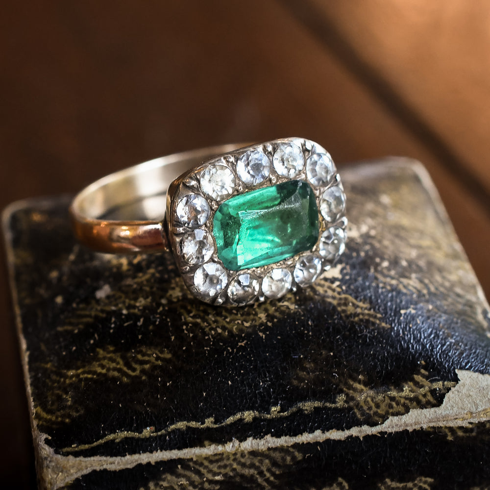Georgian Emerald Paste Cluster Ring