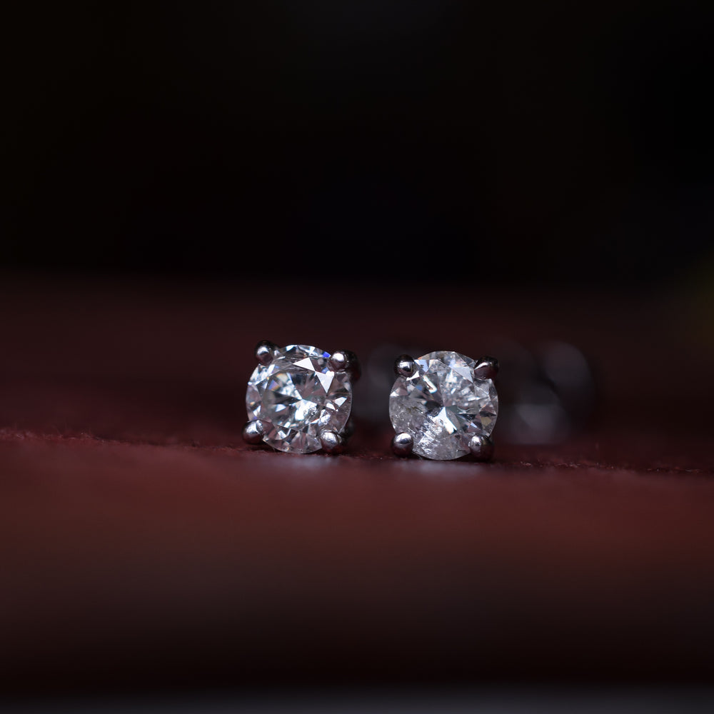 Transitional Cut Diamond Stud Earrings