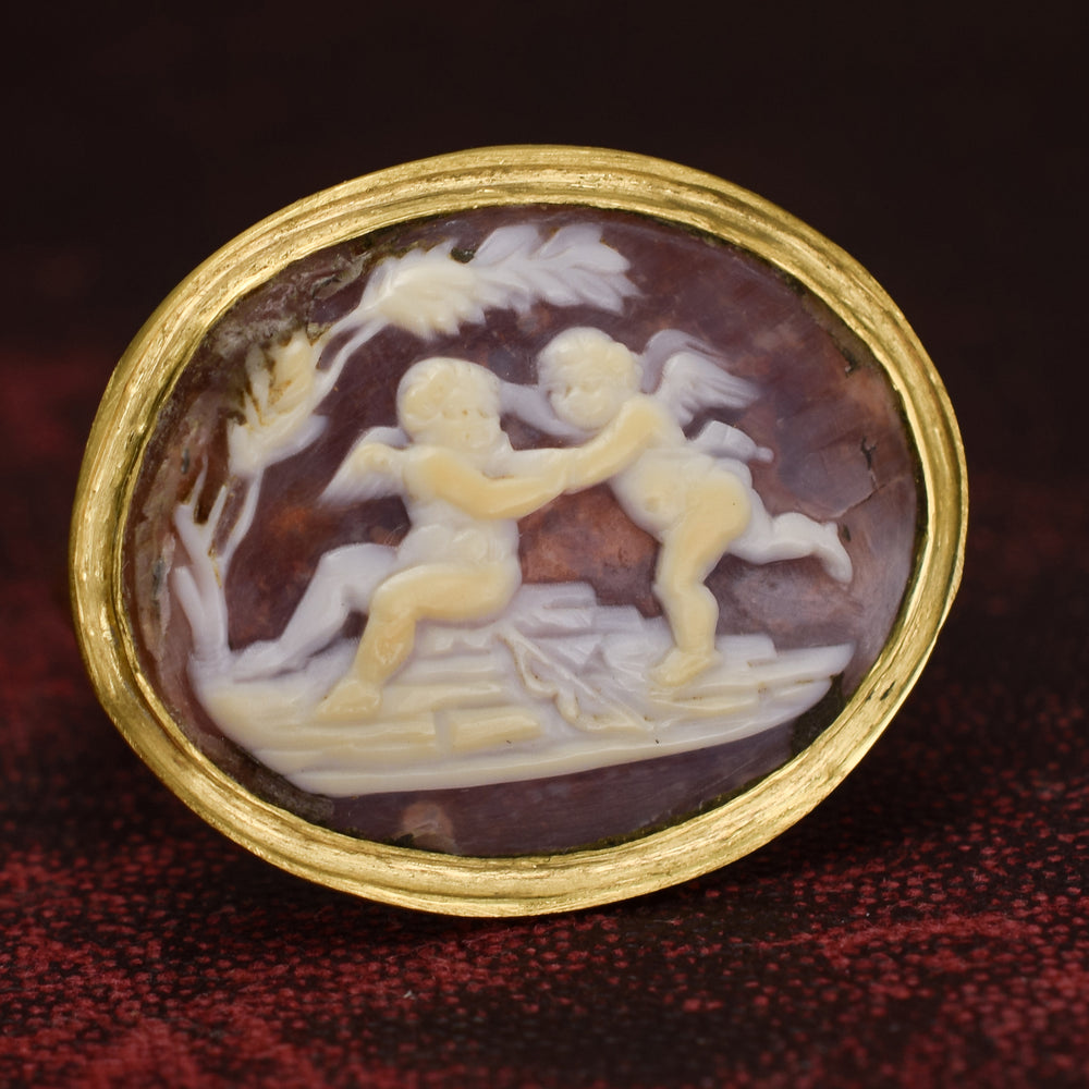 Georgian Cherubs At Play Shell Cameo Ring
