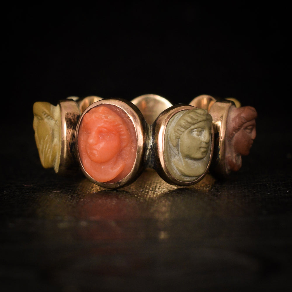 Early Victorian Days of the Week Classical Cameos Ring