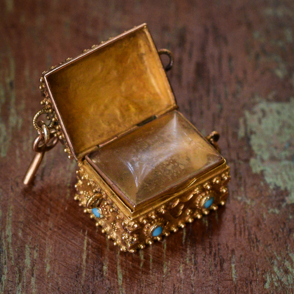 Regency Period Ruby & Turquoise Treasure Chest Locket
