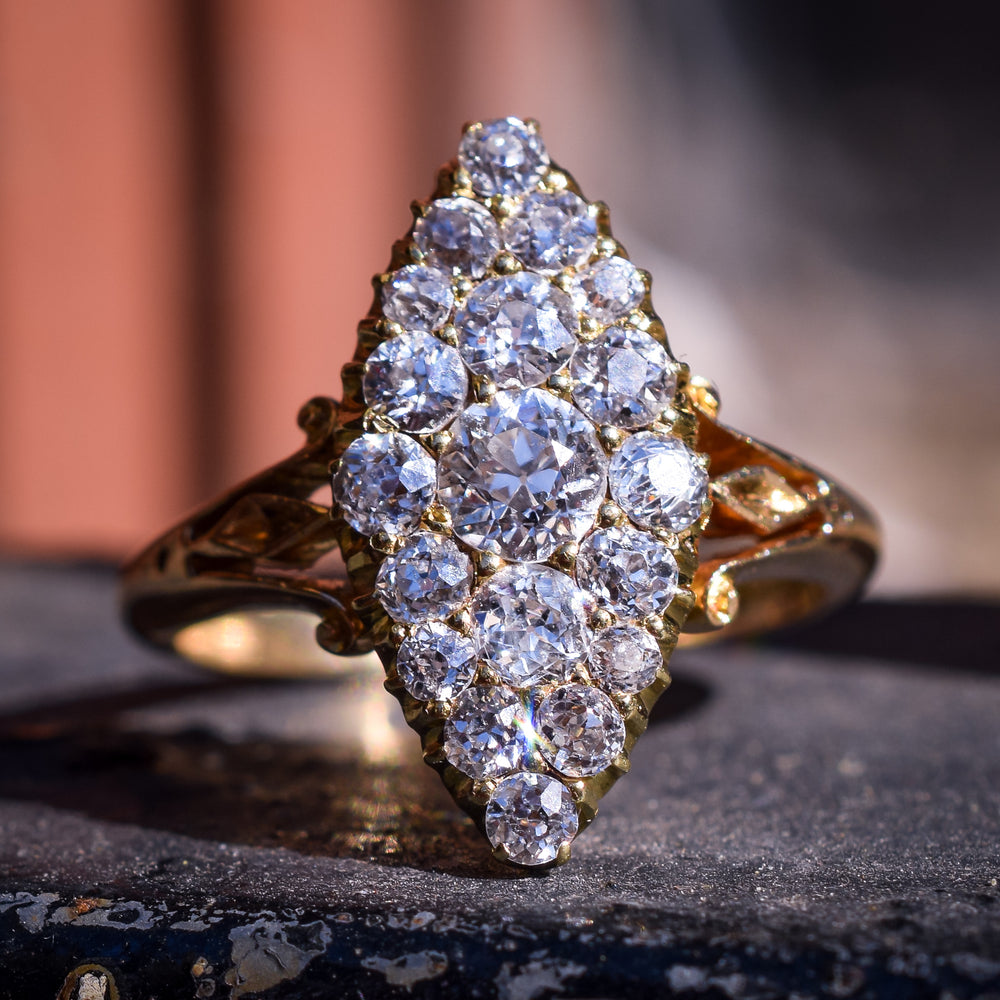 Victorian Old Cut Diamond Marquise Cluster Ring