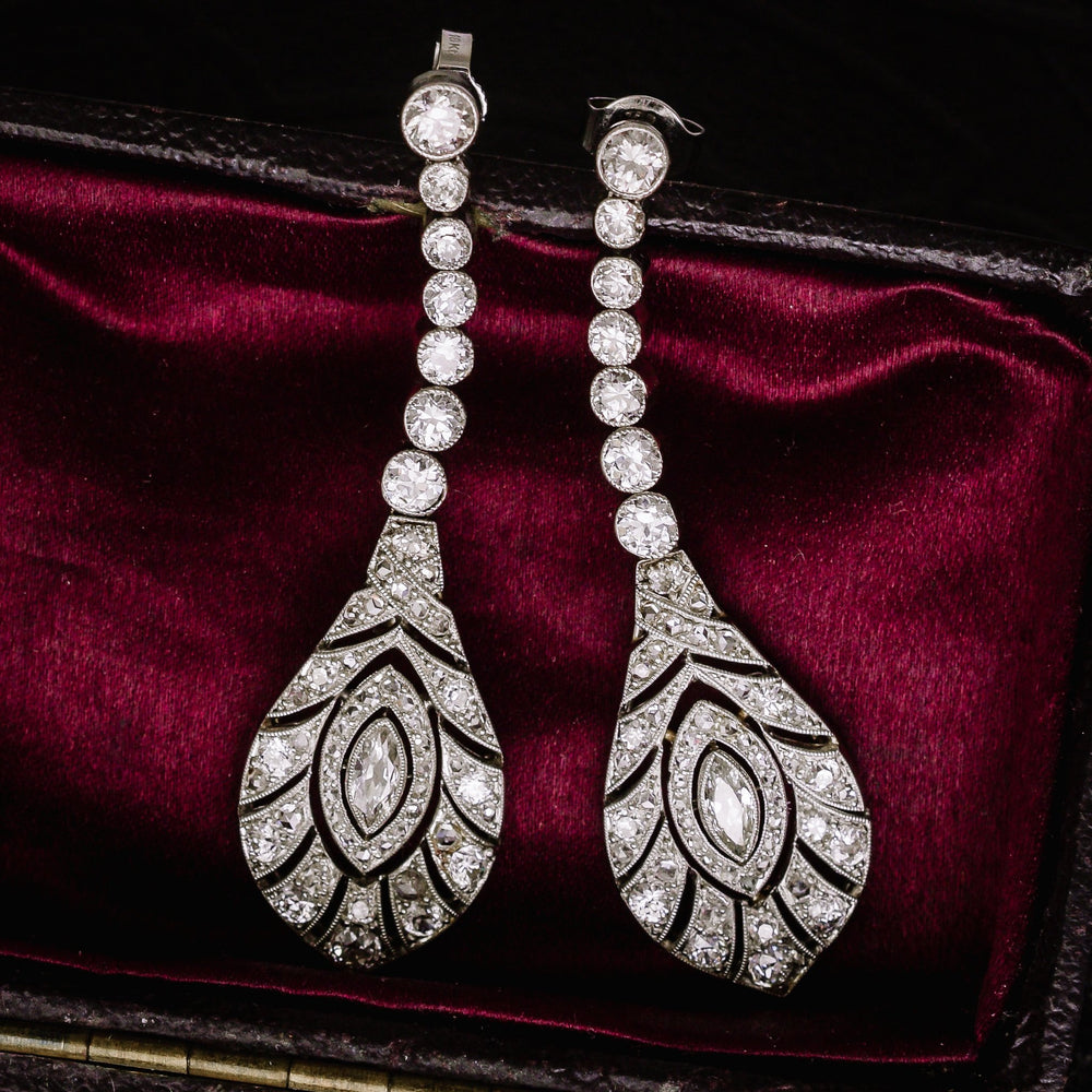 Edwardian Peacock Feathers Diamond Drop Earrings