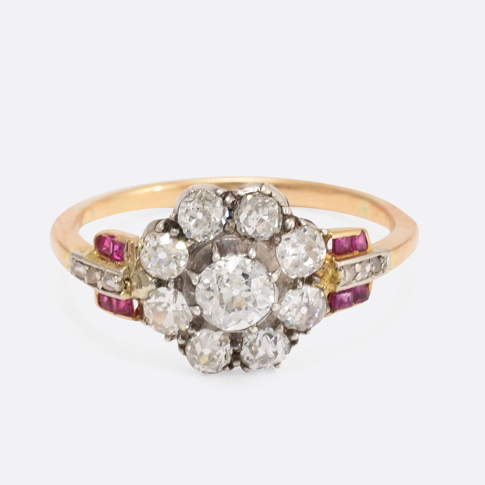 Art Deco Diamond & Ruby Flower Cluster Ring - Butter Lane Antiques