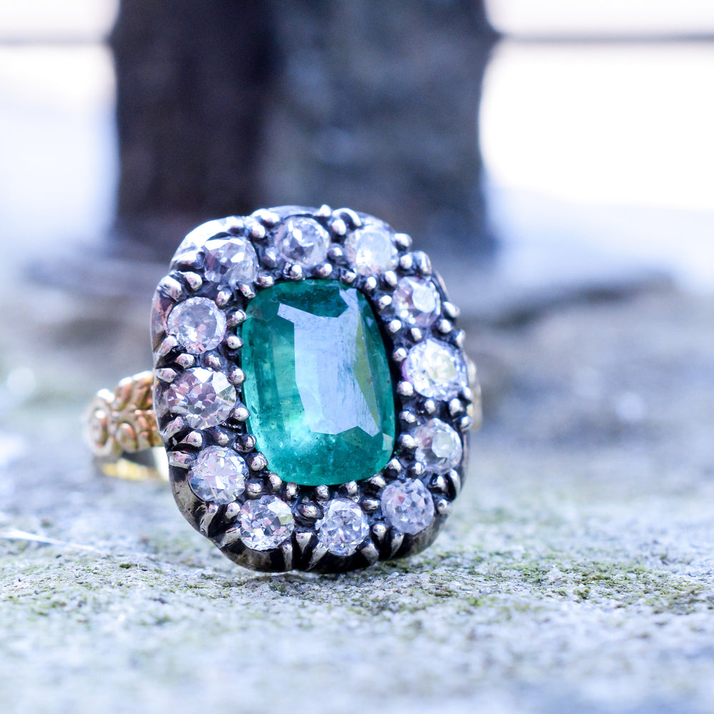 Georgian Emerald & Diamond Cluster Ring