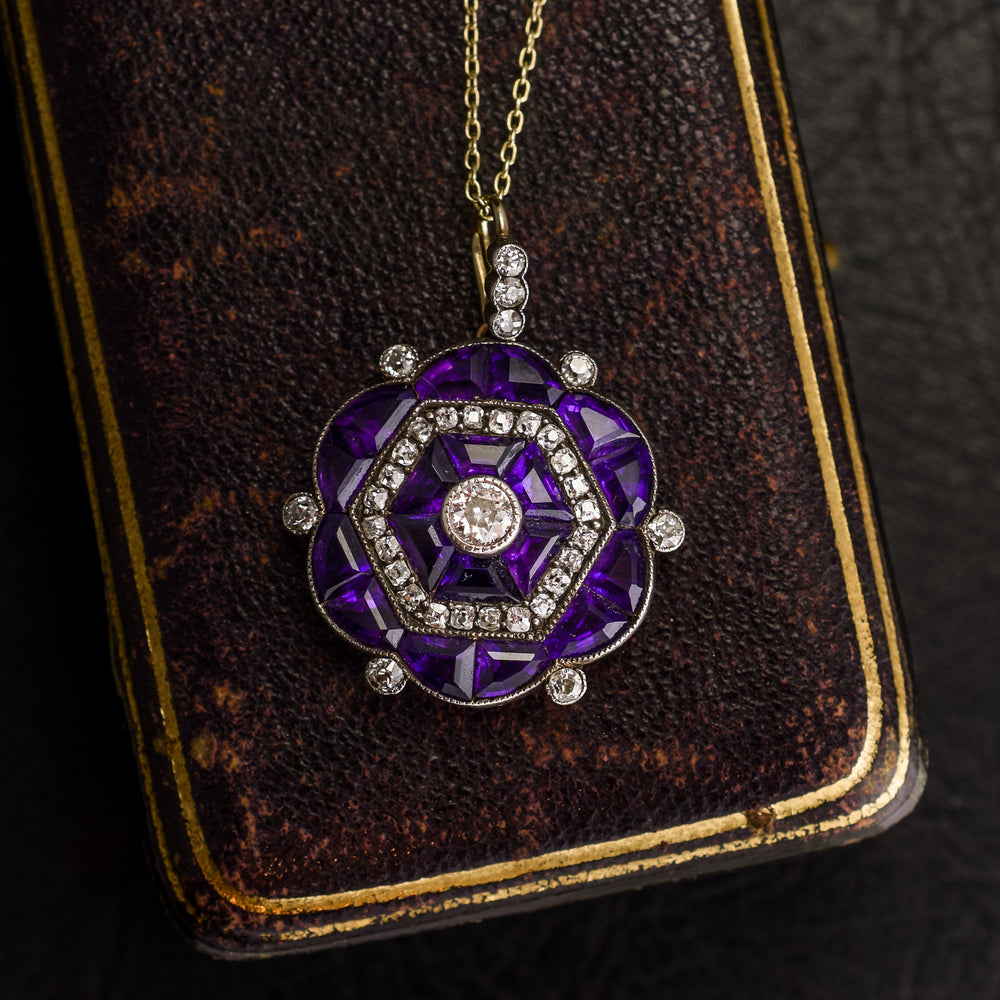 Edwardian Diamond & Amethyst Hexagon Pendant