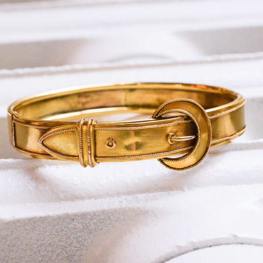 Victorian Buckle & Crescent Moon Gold Bangle