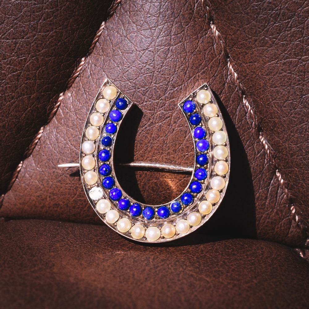 Victorian Pearl & Lapis Lazuli Lucky Horseshoe Brooch