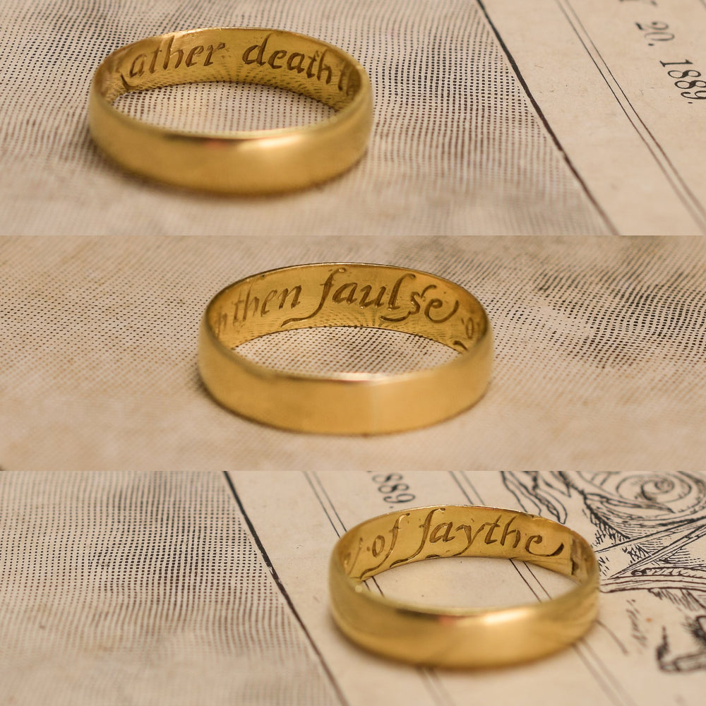 18th Century Gold Posy Ring Rather death then faulse of faythe