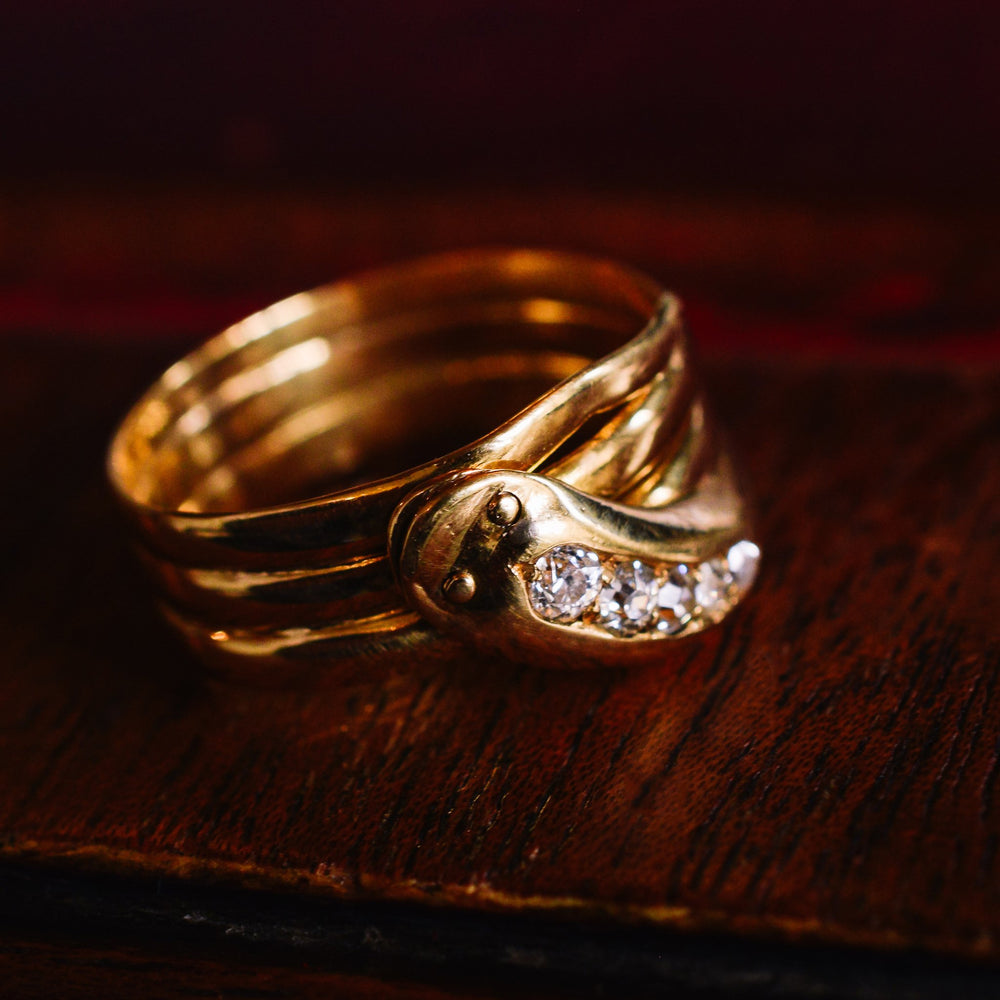 Edwardian Diamond Snake Ring