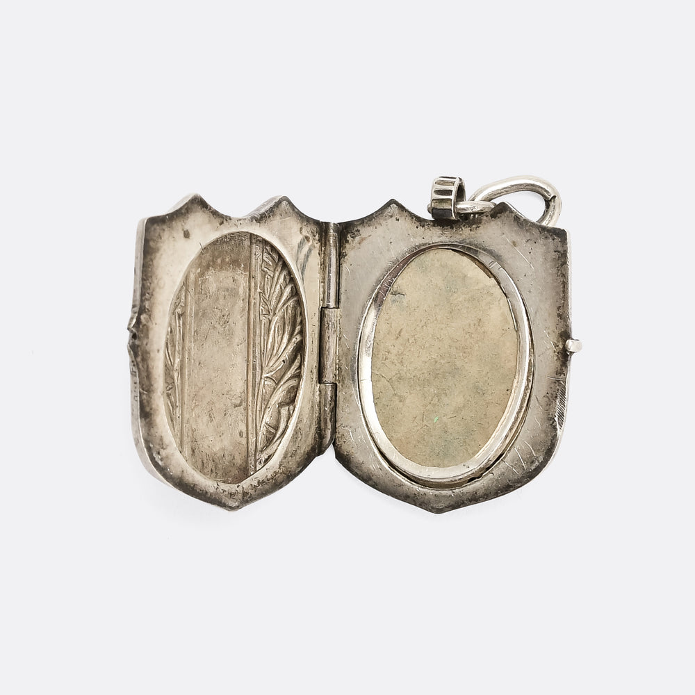 Antique Niello Silver Shield Locket