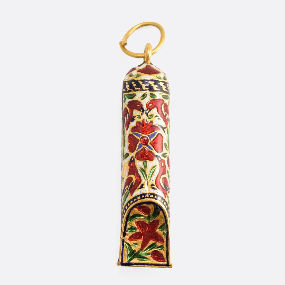 Antique Mughal Enamelled Gold Whistle