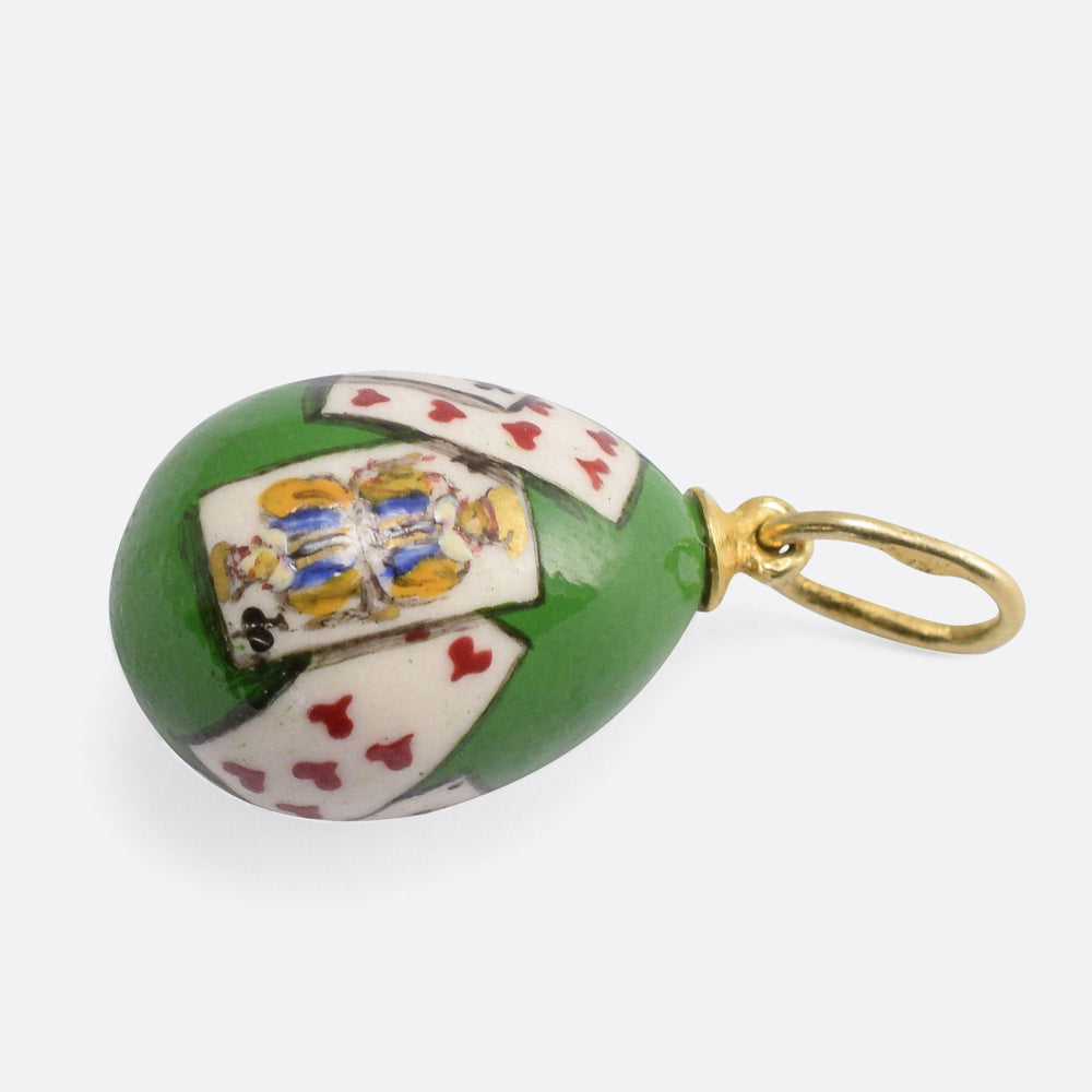 Antique Playing Cards Russian Miniature Egg Pendant