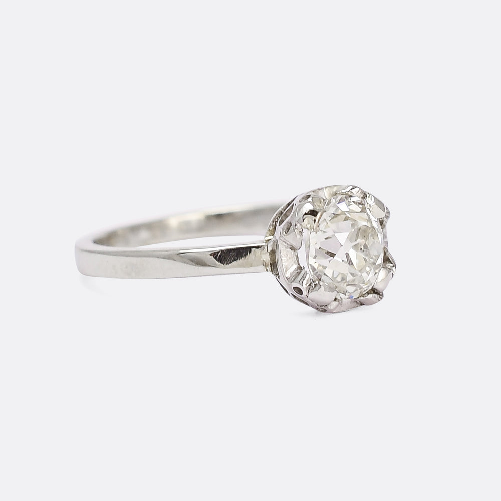 Art Deco 1.05ct Old Mine Cut Diamond Solitaire Ring