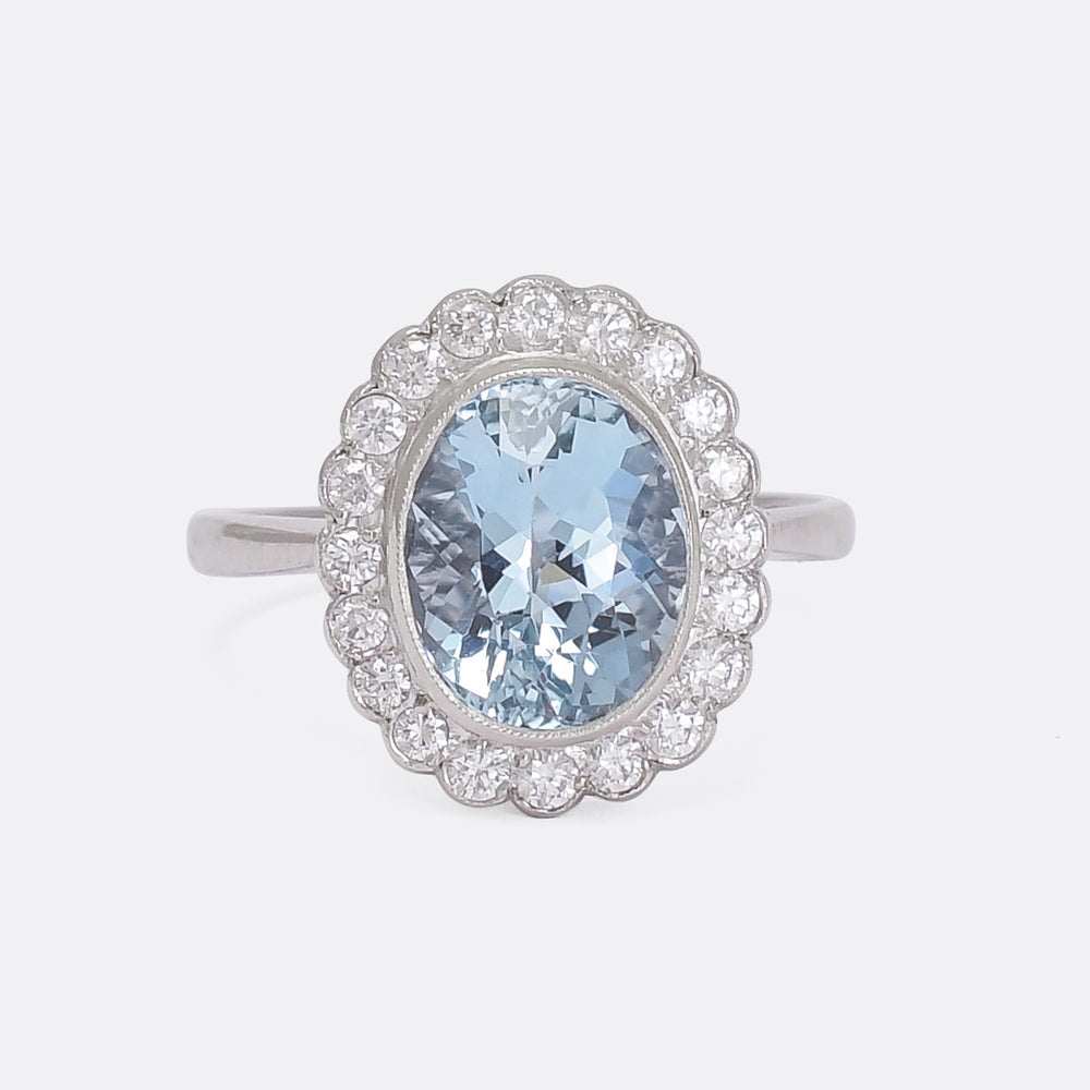Art Deco Aquamarine & Diamond Flower Cluster Ring