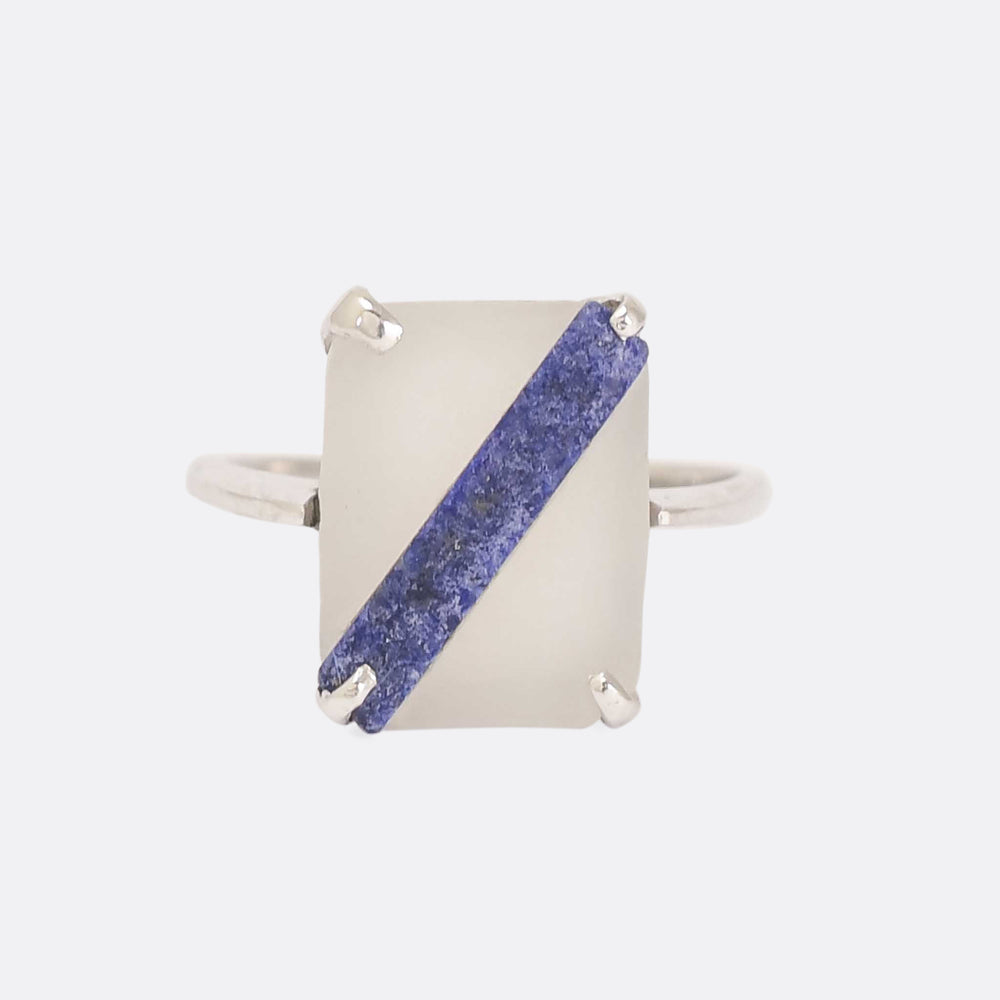Art Deco Lapis & Rock Crystal Panel Ring