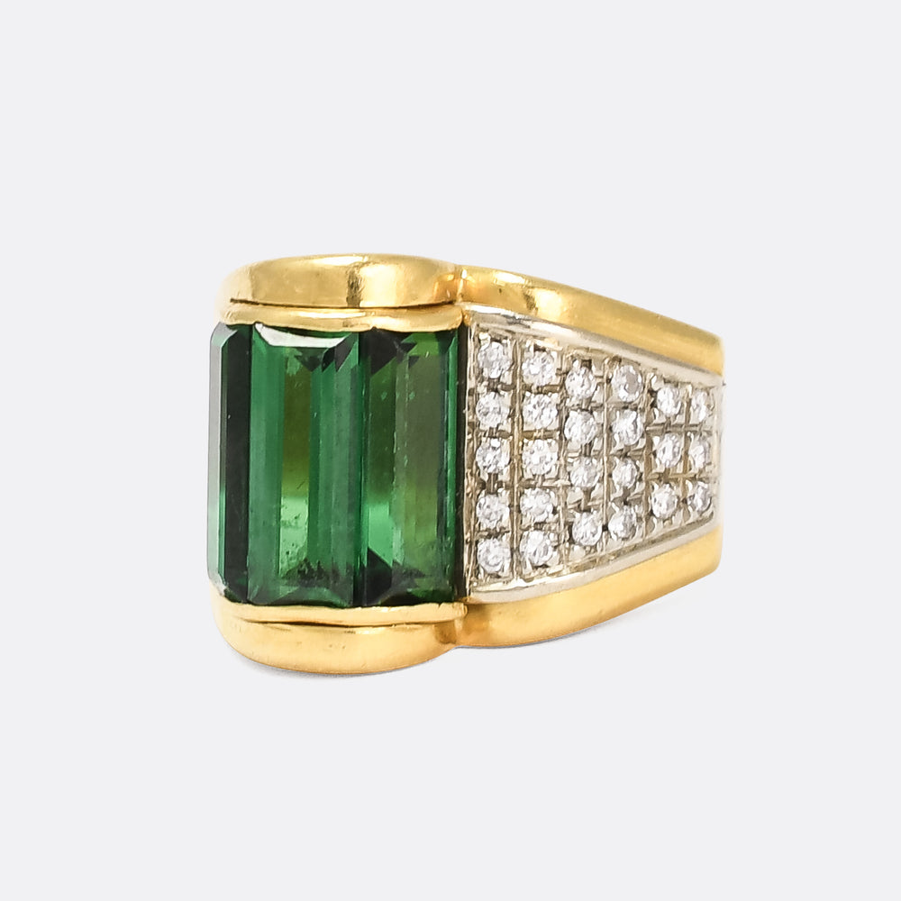 Art Deco Tourmaline & Diamond Cocktail Ring