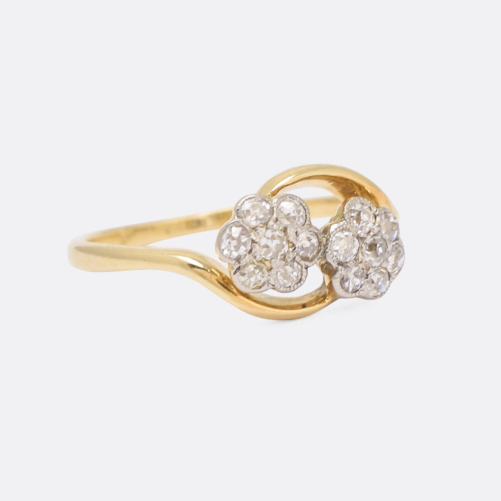 Art Nouveau Diamond Double Daisy Ring