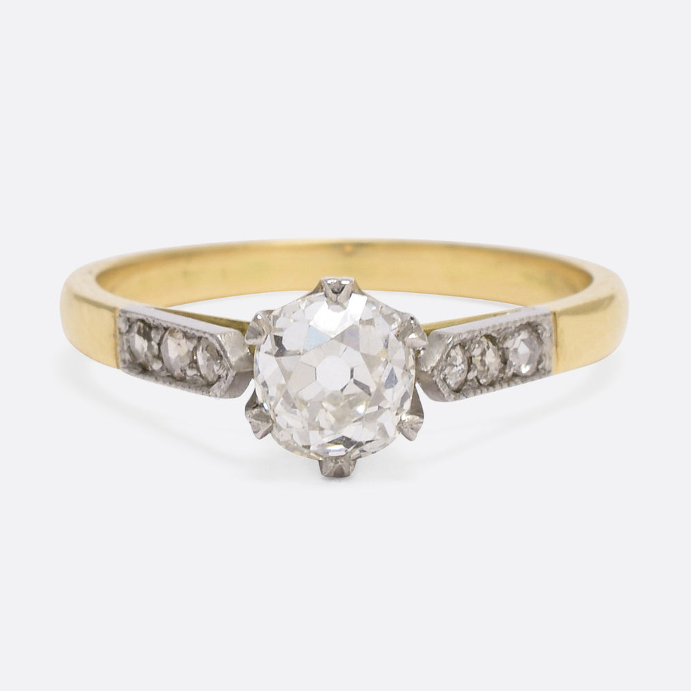 Art Deco .88ct Cushion Cut Diamond Engagement Ring