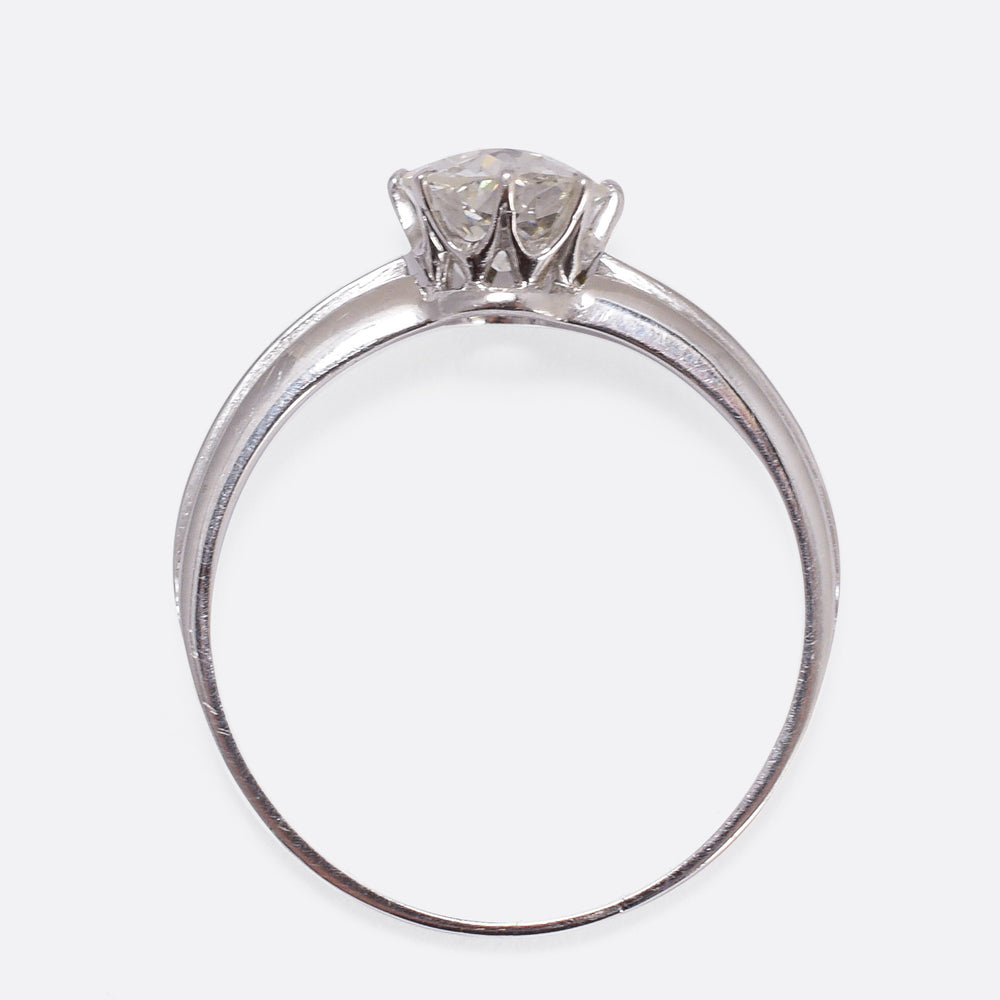 Art Deco .89ct Old Cut Diamond Solitaire Ring