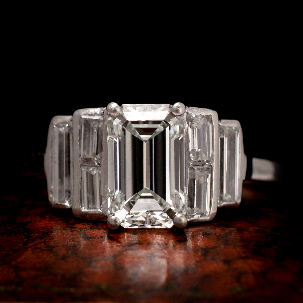 Art Deco 1.35 Carat Emerald Cut Diamond Engagement Ring