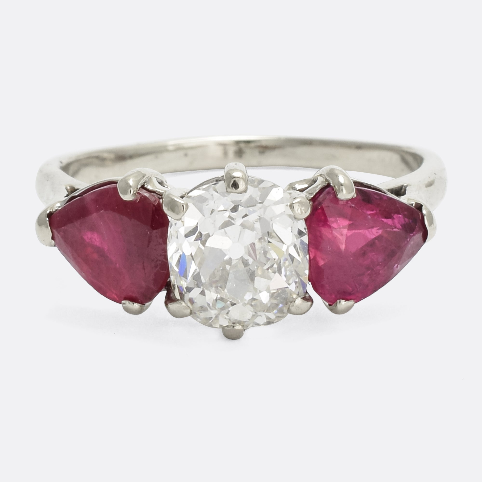 carat butter ruby deco cushion art cut three antiques stone products lane ring diamond