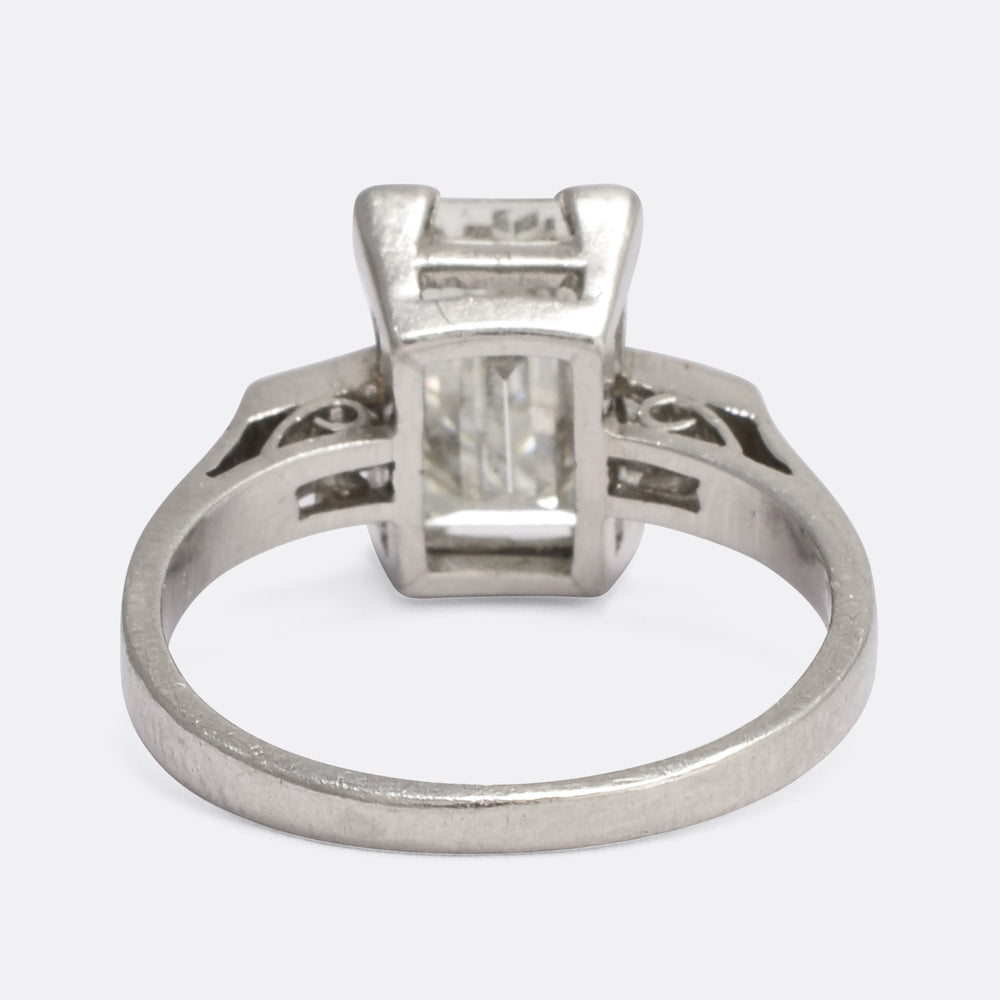 Art Deco 2.54 Carat Emerald Cut Diamond Solitiare Ring