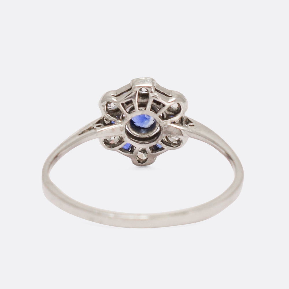 Art Deco Blue Sapphire & Diamond Cluster Ring