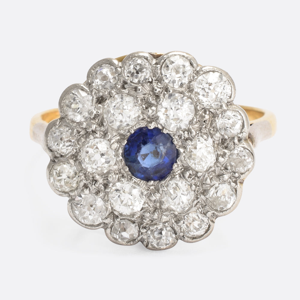 Art Deco Blue Sapphire & Diamond Flower Cluster Ring