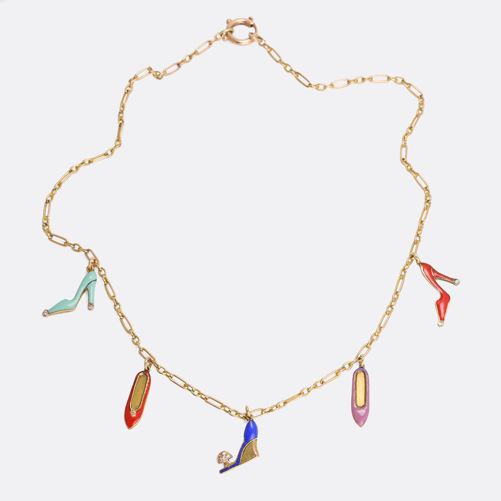 Art Deco Diamond & Enamel Shoes Necklace