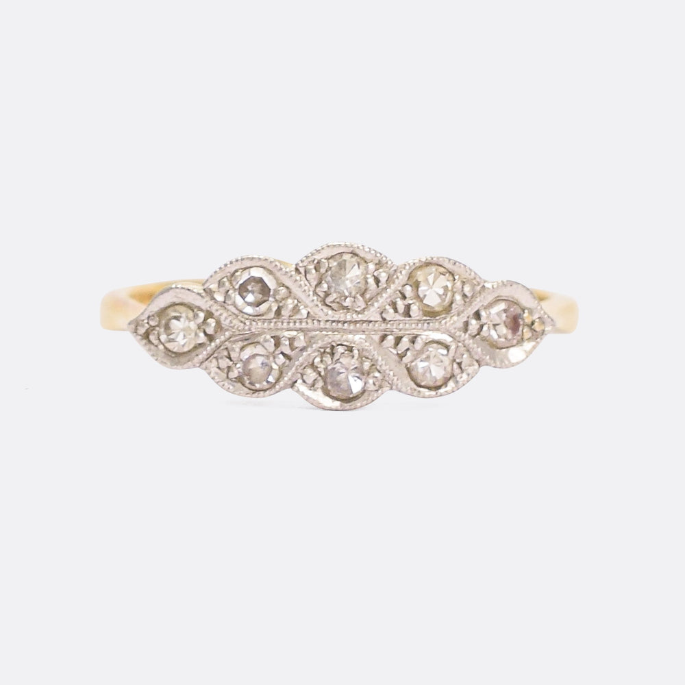 Art Deco Diamond Millegrain Cluster Ring