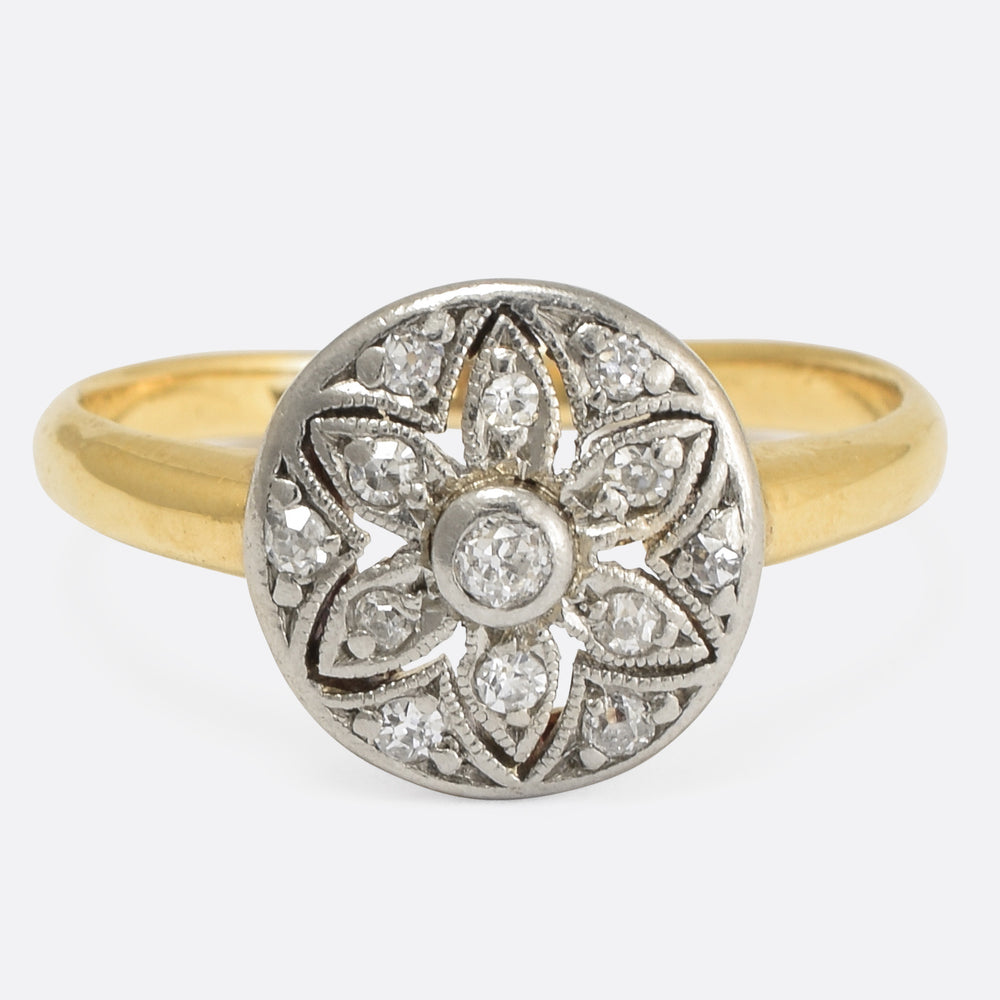 Art Deco Diamond Openwork Flower Ring