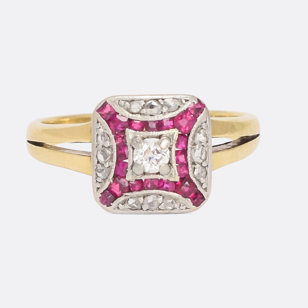 Art Deco Diamond & Ruby Cushion Cluster Ring