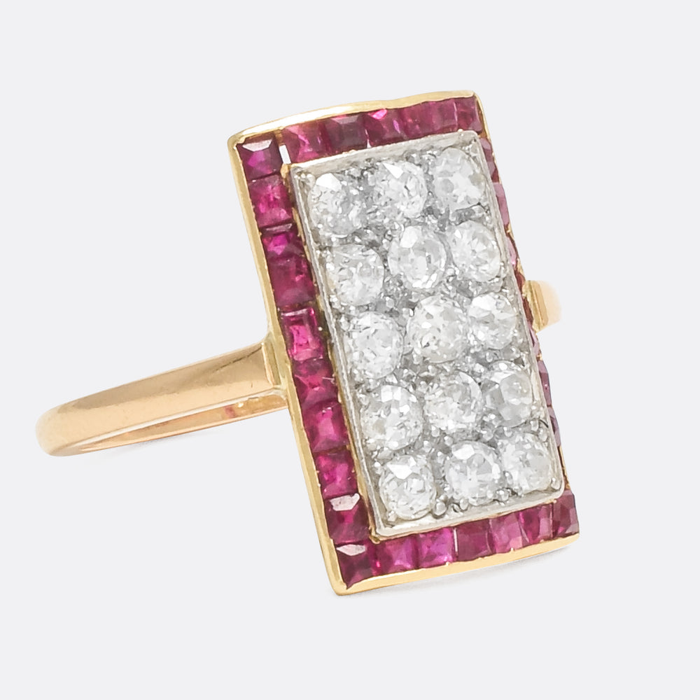 Art Deco Diamond & Ruby Picture Frame Ring