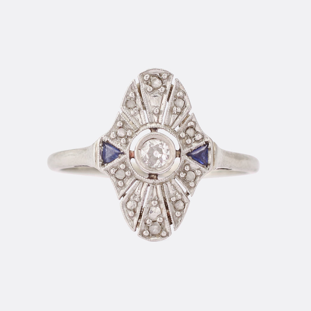 Art Deco Diamond & Sapphire Starburst Ring