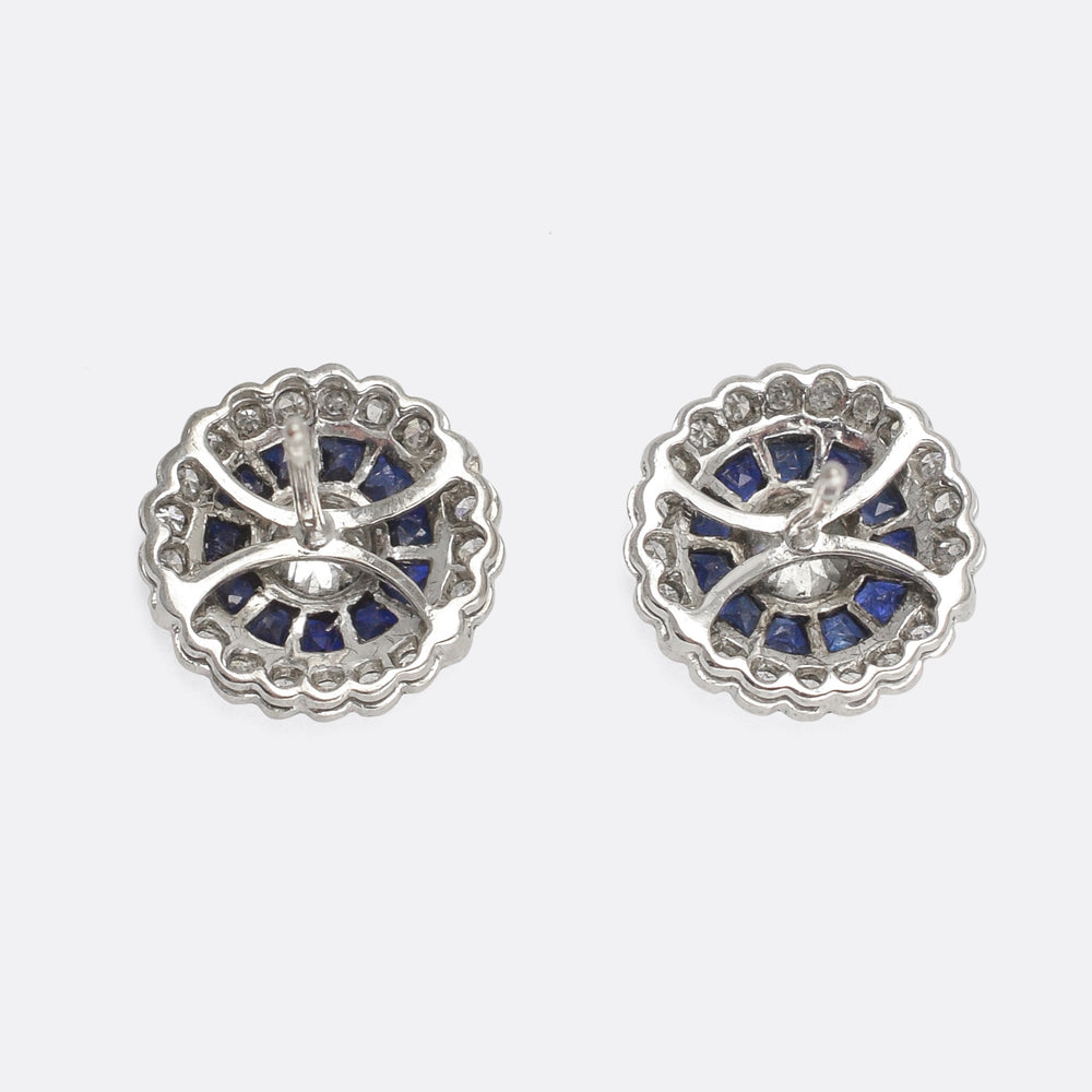 Art Deco Diamond & Sapphire Target Earrings