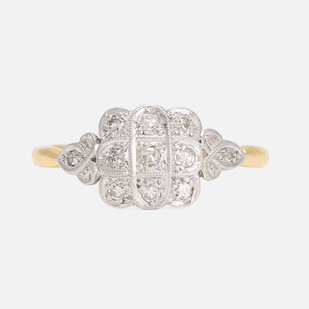 Art Deco  Diamond Square Cluster Ring
