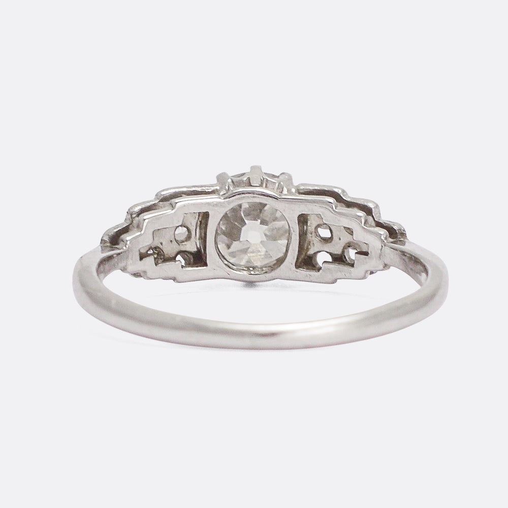 Art Deco Diamond Stepped Shoulders Ring