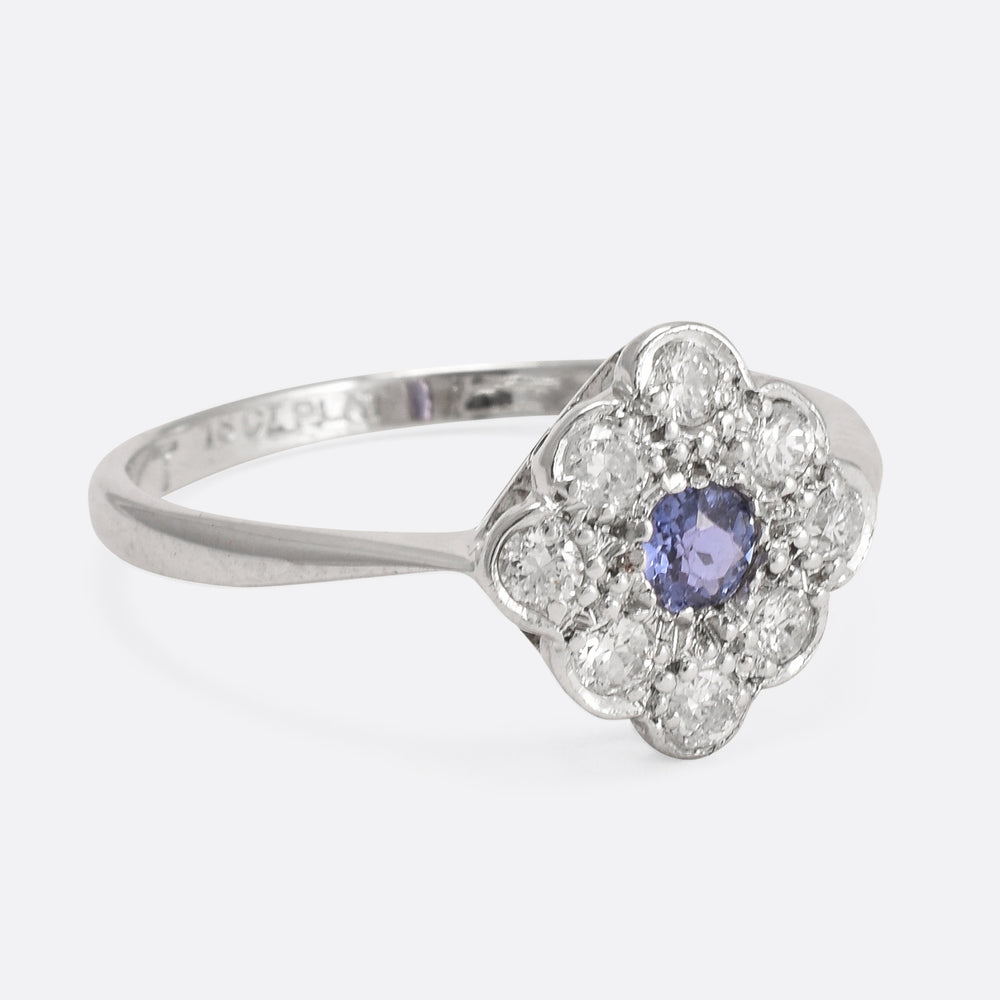 Art Deco Diamond and Sapphire Square Cluster Ring