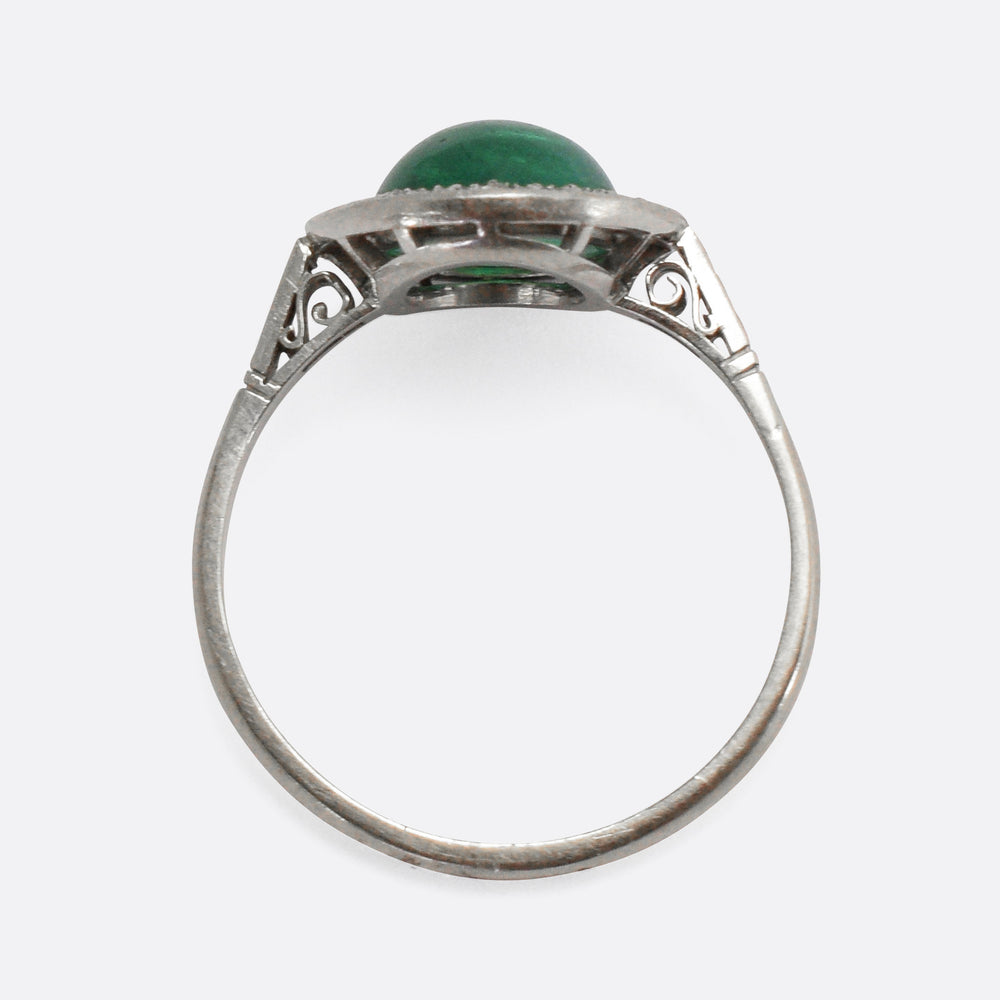 Art Deco Emerald Cabochon & Diamond Halo Ring