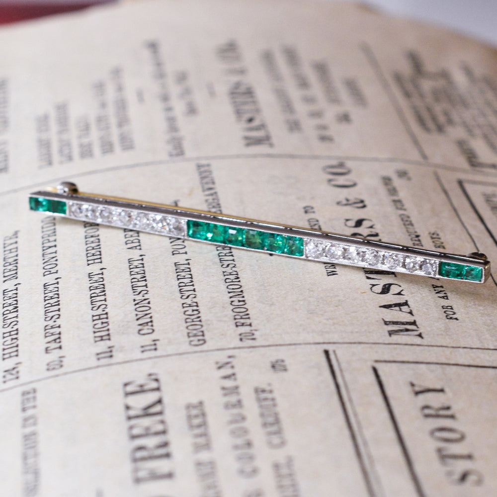 Art Deco Emerald & Diamond Bar Brooch
