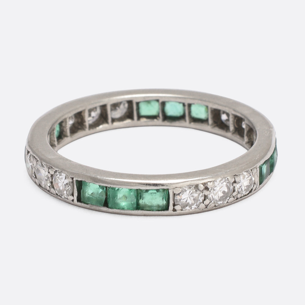 Art Deco Emerald & Diamond Eternity Ring