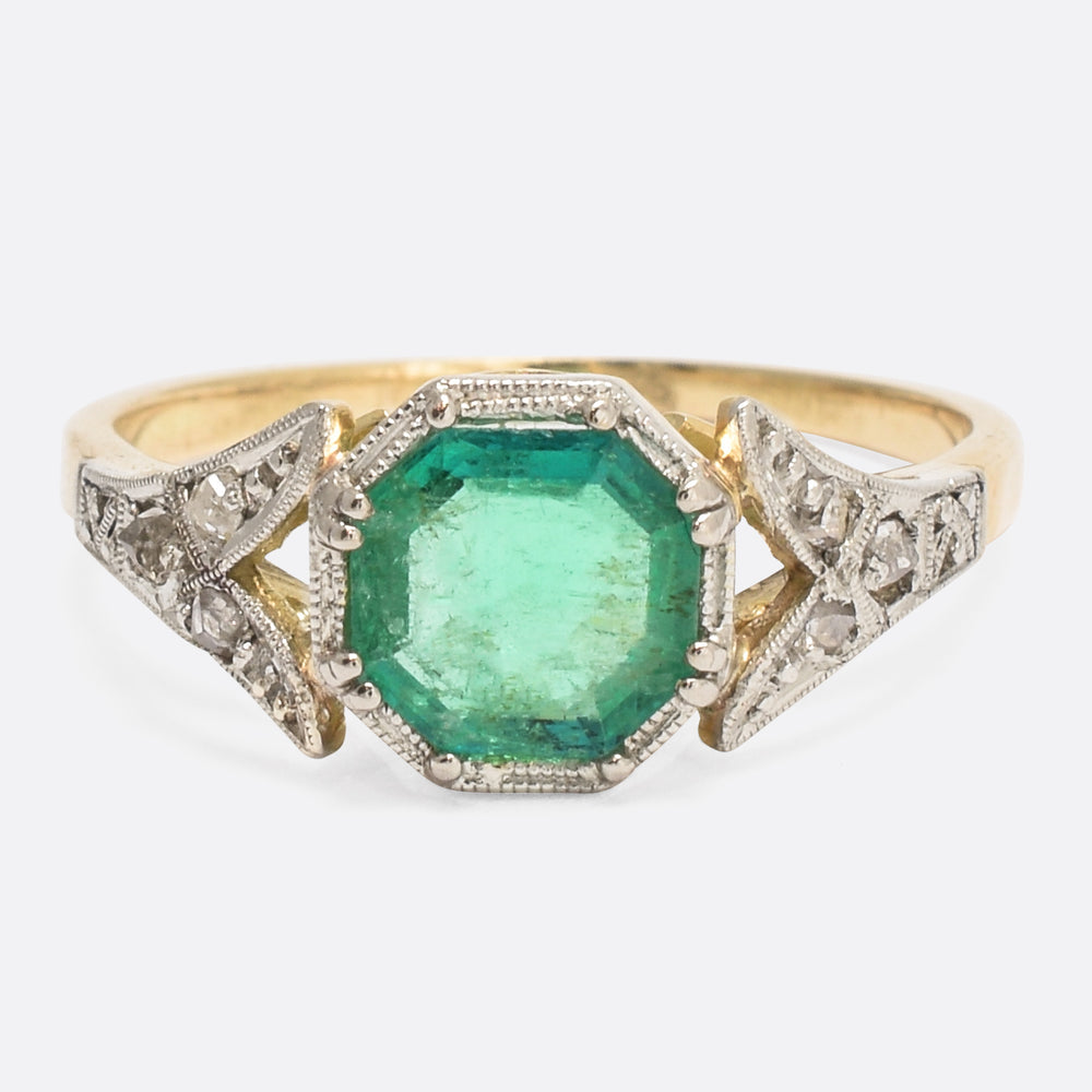 Art Deco Emerald & Diamond Millegrain Solitaire Ring