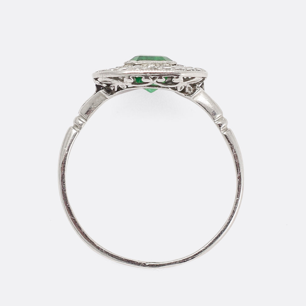 Art Deco Emerald & Diamond Octagon Ring