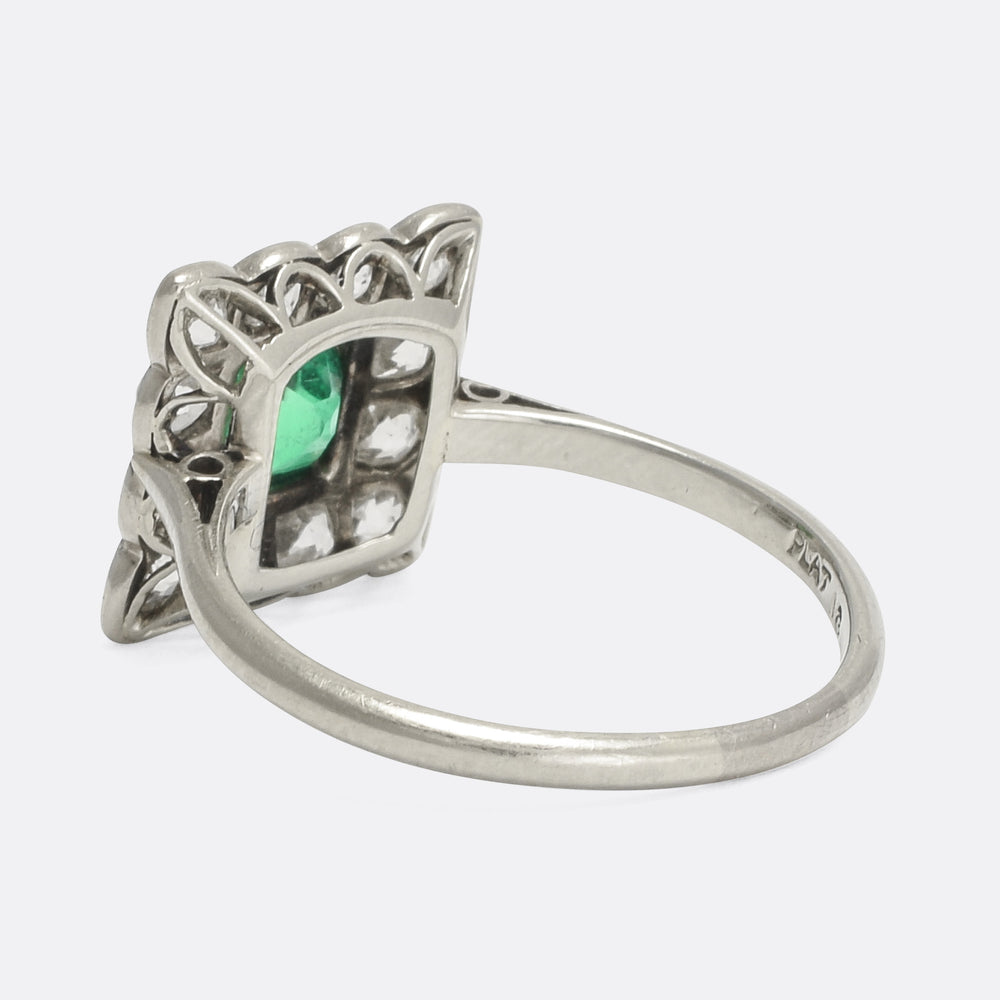 Art Deco Emerald & Diamond Square Cluster Ring