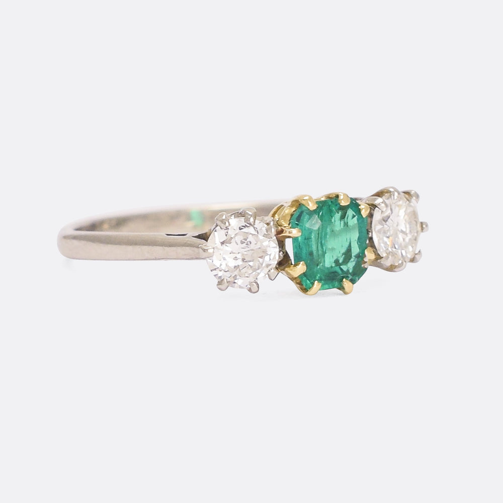 Art Deco Emerald & Diamond Three-Stone Ring