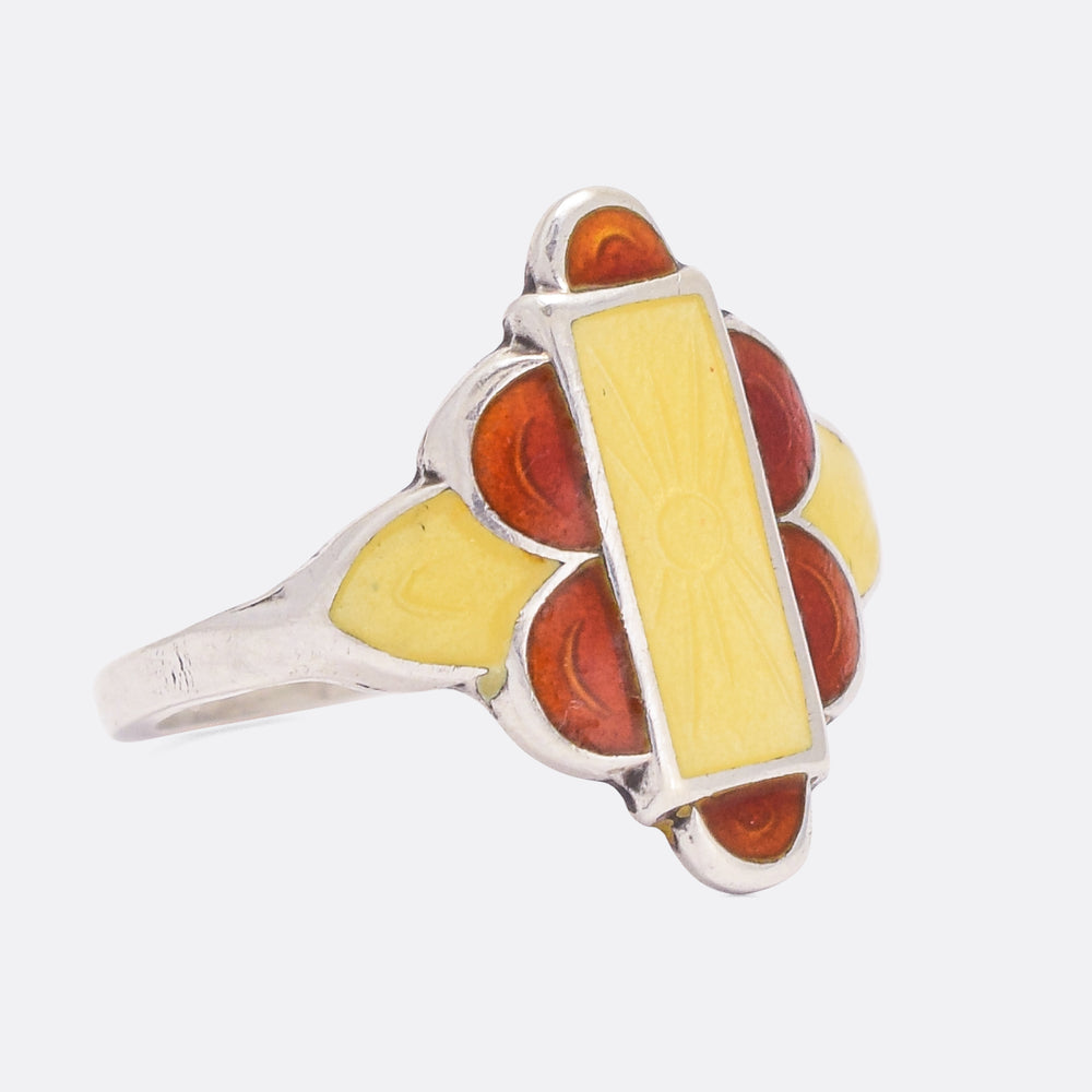 Art Deco Enamel Sun Ring